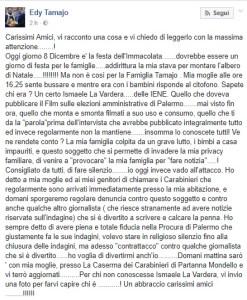 Edy Tamajo post contro La Vardera