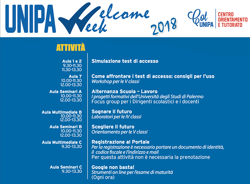 programma Unipa Welcome Week 2018