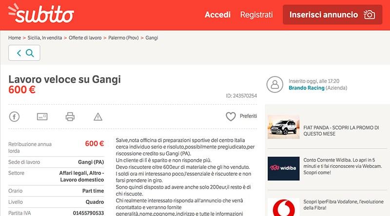 Cercasi pregiudicato per riscossione credito a Ganci (Palermo)