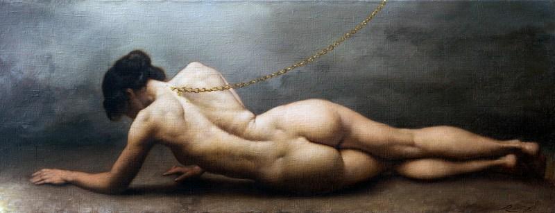 Il cammino della fede, di Roberto Ferri, , olio su tela 34x88 cm, in mostra allo Steri - Università di Palermo