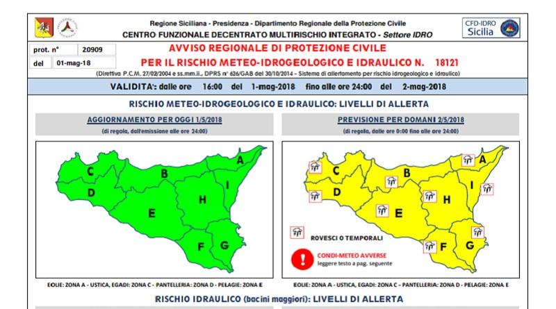 La Protezione civile regionale ha diramato allerta meteo gialla per condizioni avverse per le prossime 24/36 ore in tutta la Sicilia