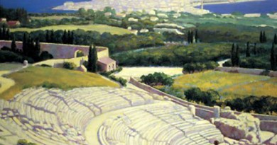 """Francesco Trombadori, """"Siracusa mia!"""" (1919 ca), una veduta del Teatro Greco di Siracusa con sullo sfondo Ortigia e il mare"""