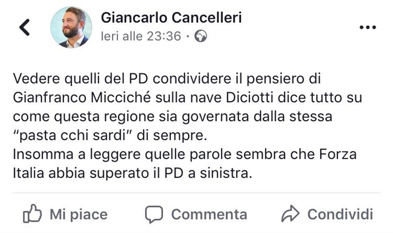 Post FB di Cancelleri su vicenda Miccichè-Salvini-Diciotti