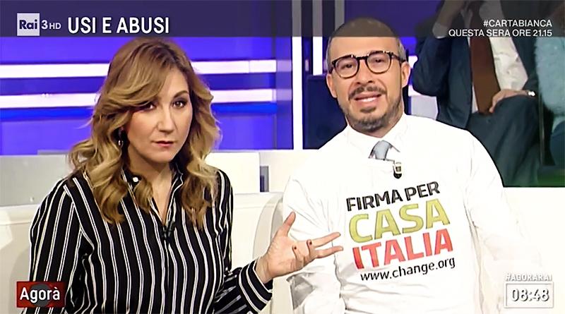 Davide Faraone ad Agorà indossa maglietta per promuovere petizione su ripristino progetto Casa Italia