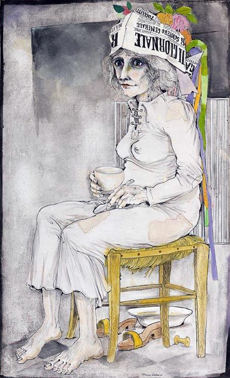 Prima colazione, china e acquarello su carta, di Bruno Caruso