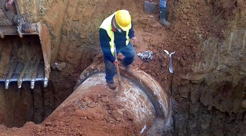 riparazione condotta acqua da diga Poma