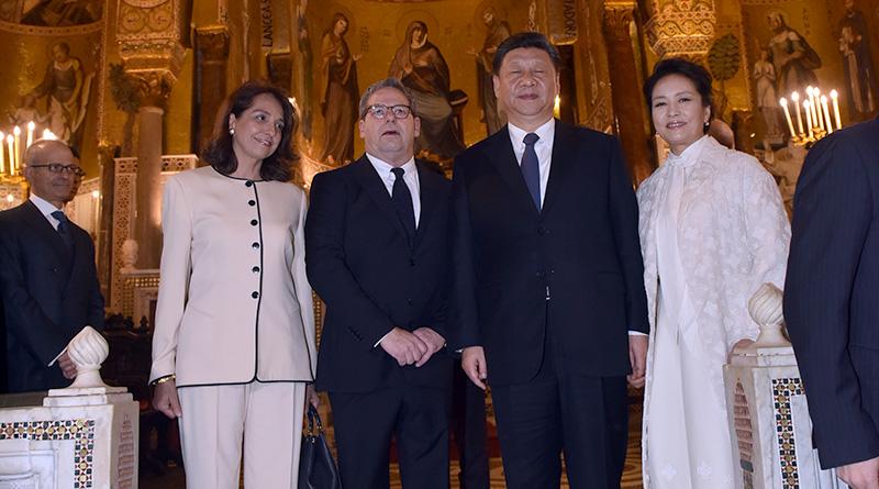 Xi Jinping alla Cappella Palatina con Gianfranco Miccichè