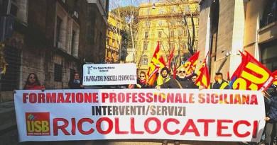 Manifestazione Usb licenziati formazione professionale