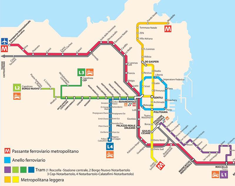 Mappa trasporti pubblici Palermo