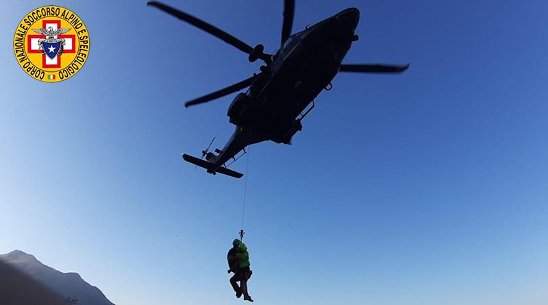 Soccorso escursionista con elicottero