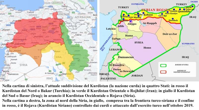 Il Kurdistan, la nazione curda, suddiviso tra Turchia, Iran, Iraq e Siria
