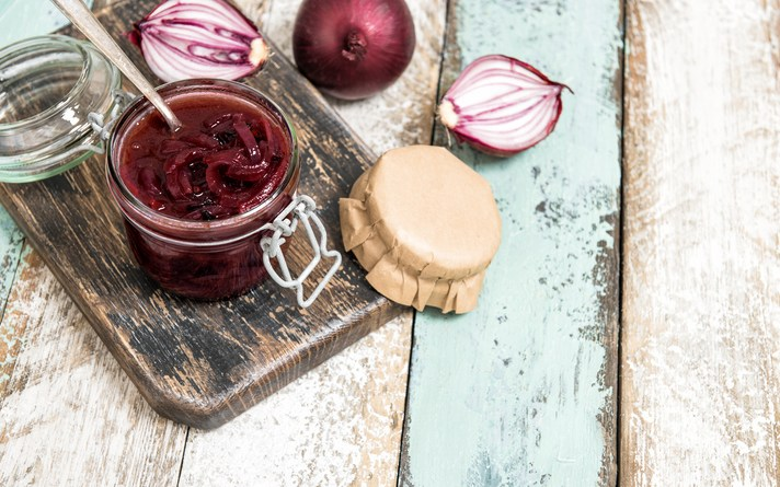 Red onion marmalade in jar Vegetable jam