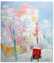 Renato Birolli, «Taxi rosso nella neve», olio su tela, 56x48 cm, 1932, collezione privata, Milano