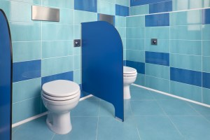 TRA LE SOLUZIONI adatte ai più piccoli nella scuola sono stati installati wc per bambini con placche di comando Viega Visign for Public 1.