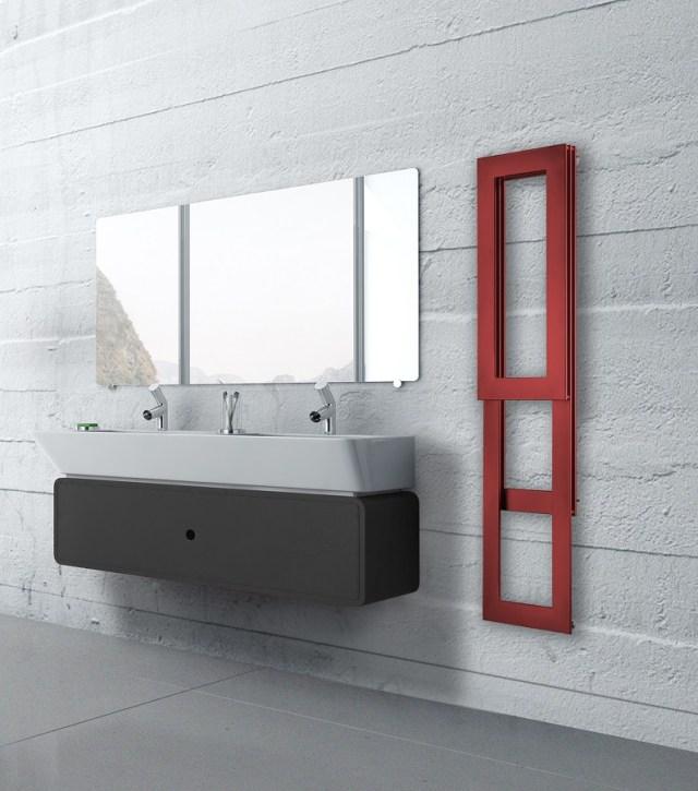Modern red bathroom interior