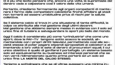 Photo of CALCIO Tifosi uniti: «Fermate il calcio»