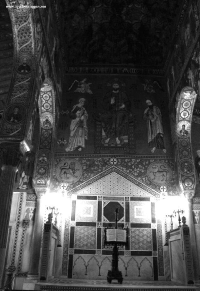 trono cappella palatina, visita alla cappella palatina di palermo con i bambini, bianco nero cappella palatina
