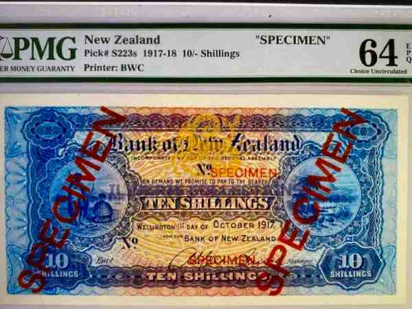New Zealand 10 shillings Specimen