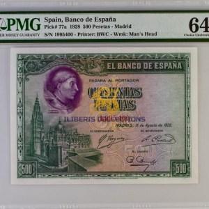 Spain 500 Pesetas 1928. PMG 64 EPQ.