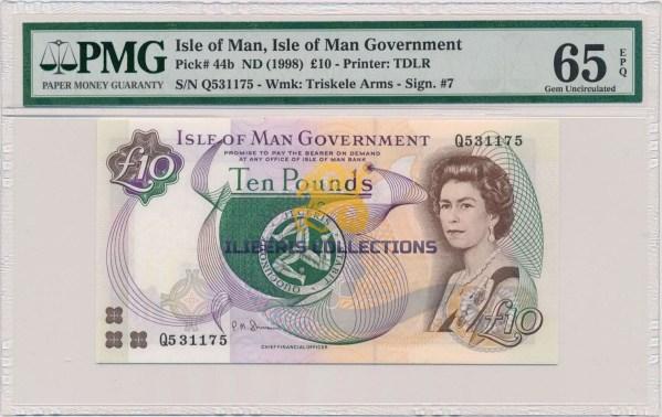 Isle Of Man 10 Pounds 1998. PMG 65 EPQ