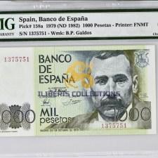 Spain 1000 Pesetas 1979. PMG 64.