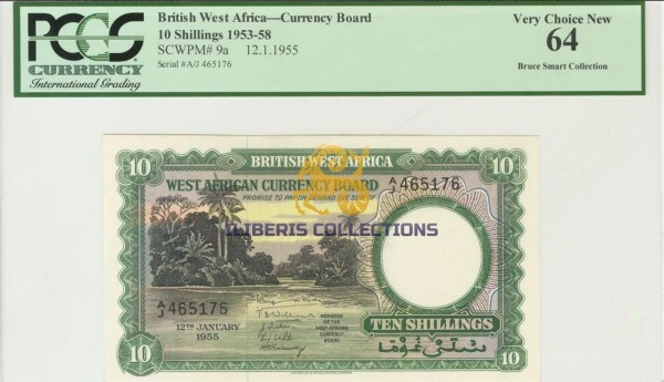 British West Africa 10 Shillings 1955. PCGS 64.