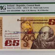 Ireland 5 Pounds 1976.