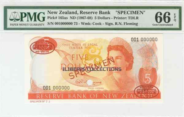 New Zealand 5 Dollars 1967