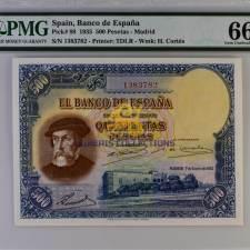 Spain 500 Pesetas 1935. PMG 66 EPQ