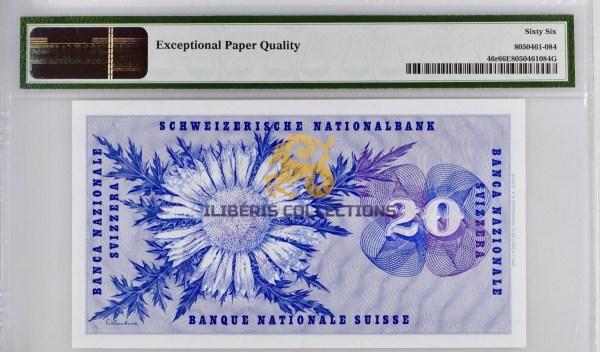 Switzerland 20 Franken 1970 back