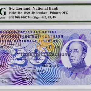 Switzerland 20 Franken 1970