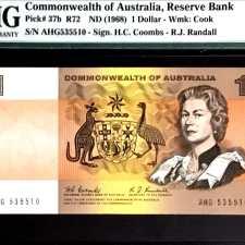 Australia 1 Dollar Coombs - Randall PMG 50 EPQ.