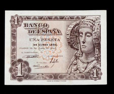 Spain 1 Peseta 1948, Serial O. Scarce. Uncirculated.