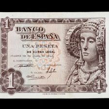 Spain 1 Peseta 1948, Serial O. Scarce. Uncirculated.