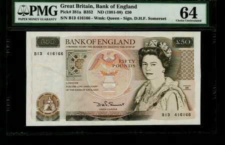 Great Britain 50 Pounds 1988. PCGS 58.