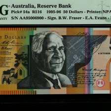 Australia 50 Dollars First signature prefix. PMG 66EPQ