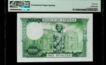 Spain 1000 Pesetas 1965. PMG 65 EPQ.
