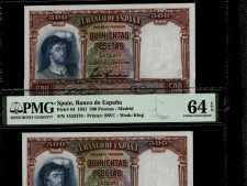 Spain 500 Pts 1931. PMG 64 EPQ. Pareja correlativa
