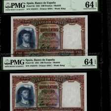 Spain 500 Pts 1931. PMG 64 EPQ. Pareja correlativa