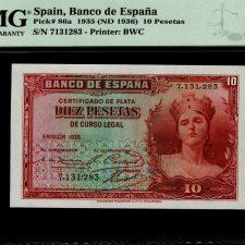 Spain 10 Pesetas 1935 PMG 67 EPQ. No letter.
