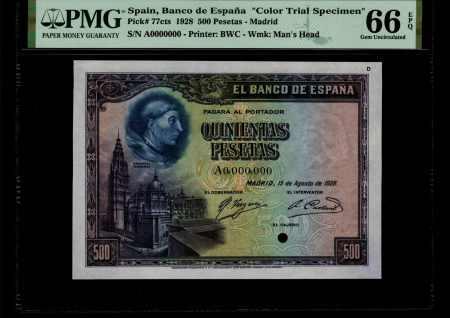 Spain 500 Pesetas 1928. Prueba de color. PMG 66 EPQ