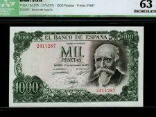 Spain 1000 Pesetas 1971 (Pick 154) ICG 63. No letter.