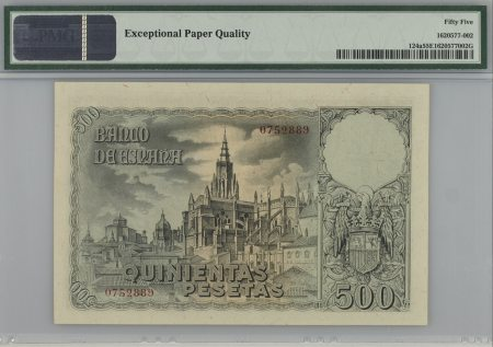 Spain 500 Pesetas 1940 PMG 55 EPQ. Pareja correlativa.