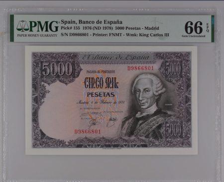 Spain 5000 Pesetas 1976. PMG 66EPQ.