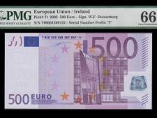 Ireland 500 Euros Duisenberg (2002). PMG 66 EPQ.