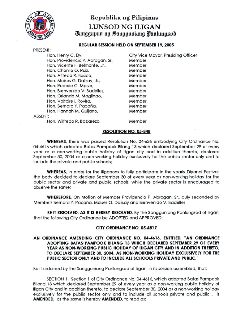 "Ordinance No. 05-4817 ""Section 1.- September 29 of each year is ..."