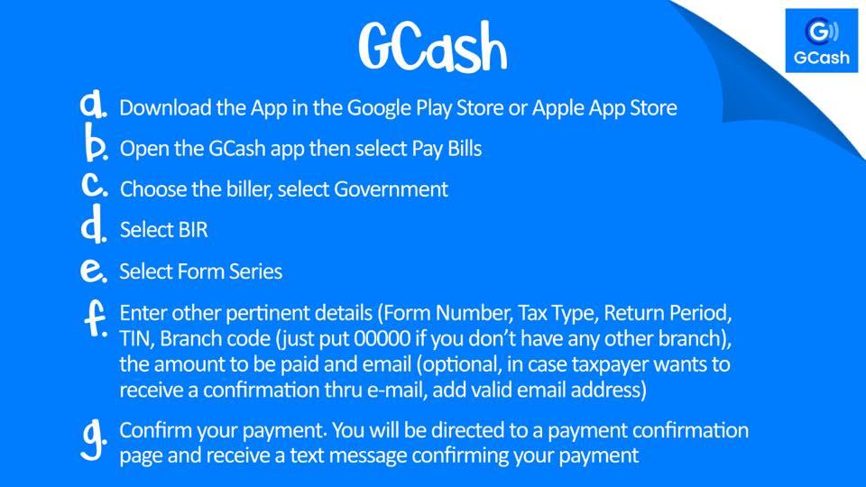 how to pay bir taxes online - gcash