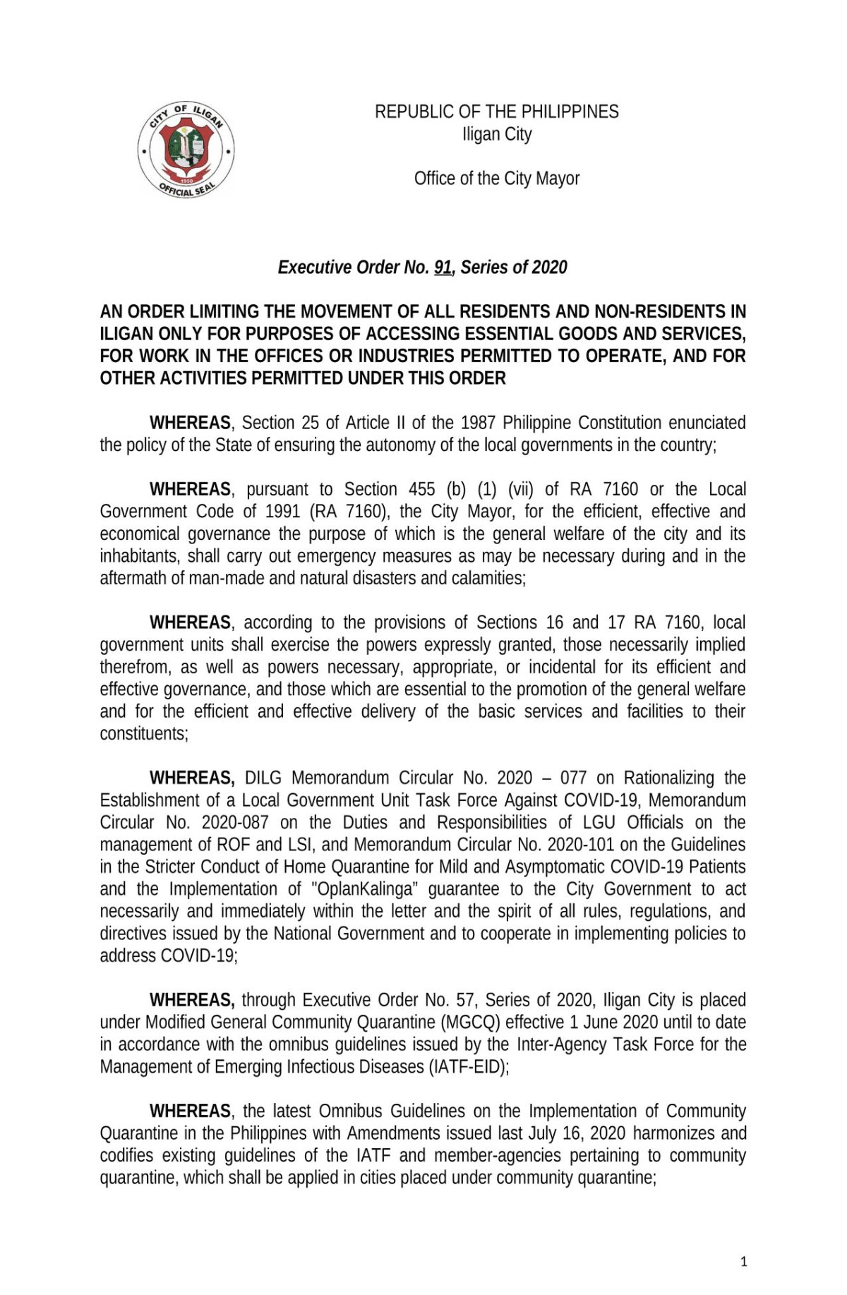 EXECUTIVE ORDER #91, SERIES OF 2020 1