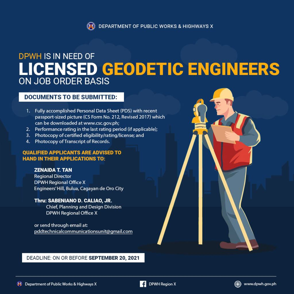 DPWH IS IN NEED OF LICENSED GEODETIC ENGINEERS