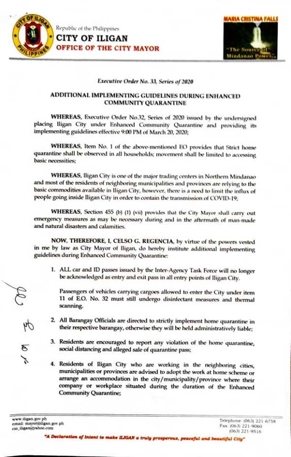 ADDITIONAL IMPLEMENTING GUIDELINES DURING ENHANCED COMMUNITY QUARANTINE EFFECTIVE IMMEDIATELY